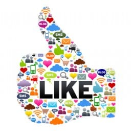 Image of a thumbs up sign comprised of social media icons to illustrate a welcome from Nancy Clairmont Carr