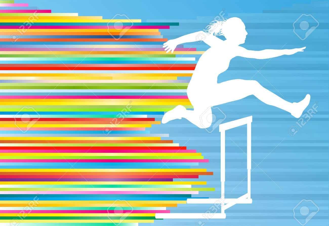 woman hurdling in process of surrender